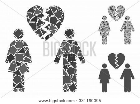 Family Divorce Mosaic Of Irregular Parts In Different Sizes And Shades, Based On Family Divorce Icon