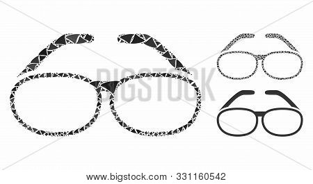 Spectacles Composition Of Bumpy Parts In Different Sizes And Shades, Based On Spectacles Icon. Vecto