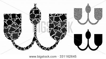 Wall Fixture Mosaic Of Raggy Items In Variable Sizes And Shades, Based On Wall Fixture Icon. Vector