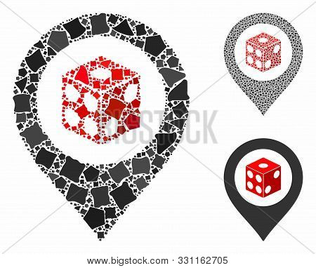 Dice Map Pointer Composition Of Abrupt Items In Variable Sizes And Shades, Based On Dice Map Pointer