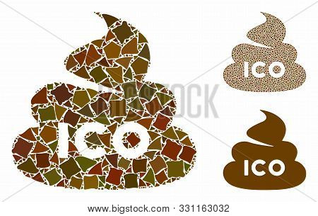 Ico Shit Mosaic Of Bumpy Elements In Various Sizes And Color Tints, Based On Ico Shit Icon. Vector R