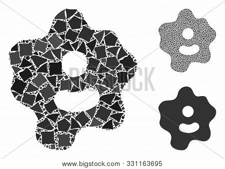 Ameba Composition Of Rough Pieces In Various Sizes And Color Tints, Based On Ameba Icon. Vector Roug