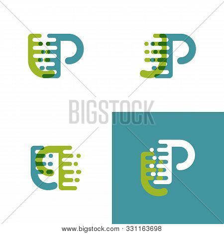 Jp Letters Logo With Accent Speed In Light Green And Light Blue