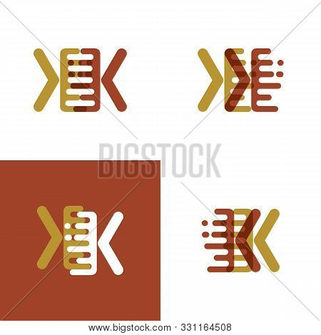 Kk Letters Logo With Accent Speed In Light Brown And Dark Brown
