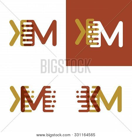 Km Letters Logo With Accent Speed In Light Brown And Dark Brown