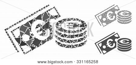 Euro Cash Mosaic Of Abrupt Pieces In Various Sizes And Color Hues, Based On Euro Cash Icon. Vector A