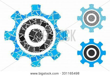 Cogwheel Mosaic Of Irregular Pieces In Different Sizes And Color Hues, Based On Cogwheel Icon. Vecto