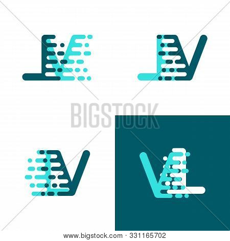 Lv Letters Logo With Accent Speed In Light Green And Dark Green