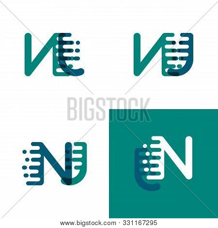 Nj Letters Logo With Accent Speed In Green And Dark Purple