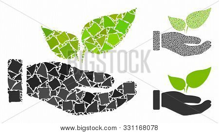 Eco Startup Hand Composition Of Abrupt Pieces In Various Sizes And Color Tinges, Based On Eco Startu