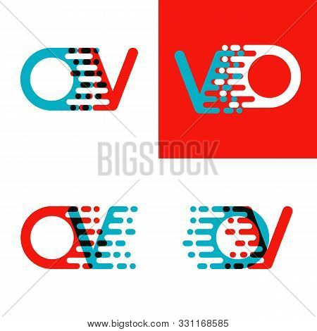 Ov Letters Logo With Accent Speed In Red And Blue