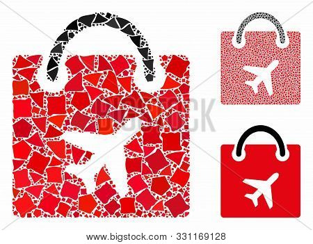 Duty Free Bag Mosaic Of Bumpy Parts In Variable Sizes And Shades, Based On Duty Free Bag Icon. Vecto