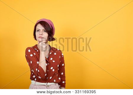 Beautiful Caucasian Young Lady Over Isolated Yellow Background Looking Confident And Conceived At Ca