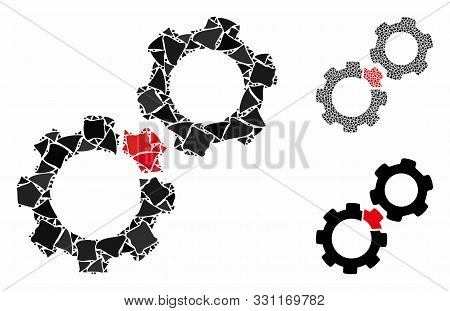 Damaged Gears Composition Of Trembly Parts In Various Sizes And Color Tints, Based On Damaged Gears