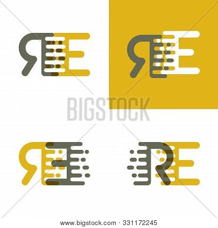 Re Letters Logo With Accent Speed In Brown And Dark Yellow