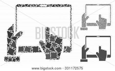 Hand Points Pda Mosaic Of Abrupt Items In Various Sizes And Shades, Based On Hand Points Pda Icon. V
