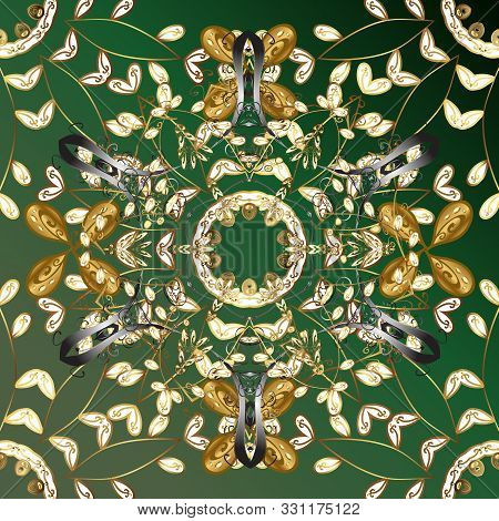 Metal With Floral Pattern. Green And Brown Colors With Golden Elements. Vector Golden Floral Ornamen