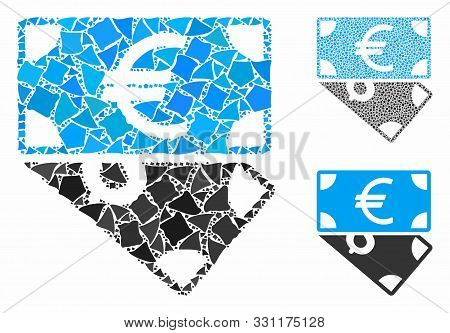 Euro And Dollar Banknotes Mosaic Of Bumpy Elements In Different Sizes And Color Tones, Based On Euro