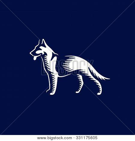 Sheepdog Design Template On Dark Background For Logo, Emblem, Badge. Vector Illustration.
