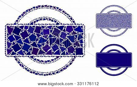 Round And Rectangle Frame Mosaic Of Trembly Pieces In Variable Sizes And Color Tints, Based On Round