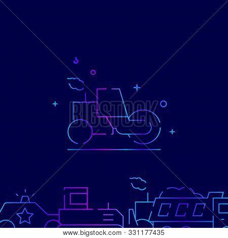 Asphalt Compactor Or Roller Vector Gradient Line Icon, Illustration, Symbol Or Pictogram, Sign. Dark