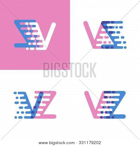 Vz Letters Logo With Accent Speed Soft Pink And Soft Blue