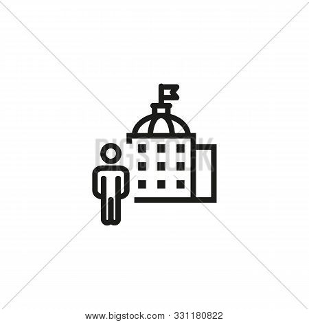 Government Official Line Icon. Building, Administration, Representative. Government Concept. Vector