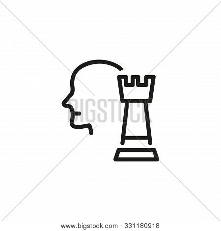 Hr Manager Line Icon. Human Resources Manager, Head, Chessman. Hr Concept. Vector Illustration Can B