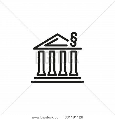 Law And Order Line Icon. Building, Administration, Executive. Government Concept. Vector Illustratio