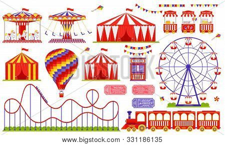 Amusement Park, Circus, Carnival Fair Theme. Vector. Set With Ferris Wheel, Tent, Carousel, Roller C