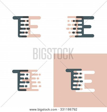 Te Letters Logo With Accent Speed Pink And Gray