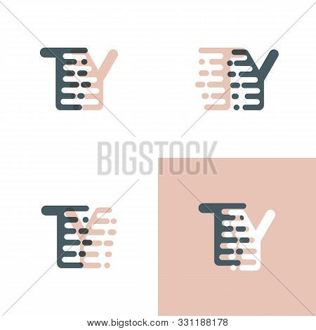 Ty Letters Logo With Accent Speed Pink And Gray