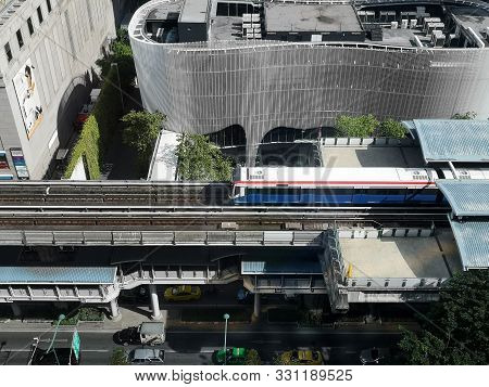 Bangkok - October 31,2019: Birds Eye View Of A Bts Skytrain On Elevated Rails In Phloen Chit Distric