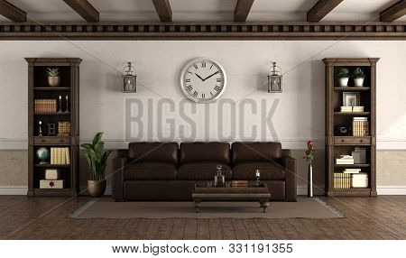 Retro Style Living Room With Leather Sofa And Wooden Bookcase - 3d Rendering