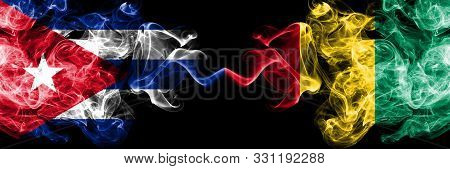 Cuba, Cuban Vs Guinea, Guinean Smoky Mystic Flags Placed Side By Side. Thick Colored Silky Travel Ab