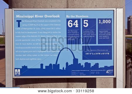 St. Louis Skyline & Mississippi River Lookout Sign