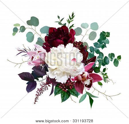 Luxury Fall Flowers Vector Bouquet. Pink Cymbidium Orchid Flower, Burgundy Red And White Peony, Euca