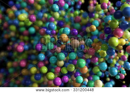 Abstract Background On Black Isolated Background With Moving Colorful Multi-colored Spheres. Ultra R
