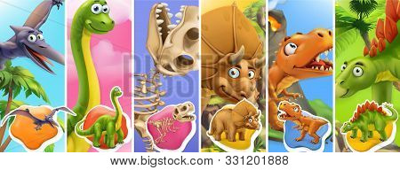 Dinosaurs Cartoon Character. Brachiosaurus, Pterodactyl, Tyrannosaurus Rex, Dinosaur Skeleton, Trice