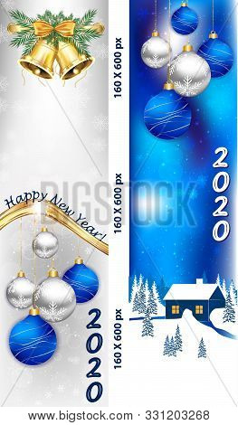 Banner Set For Christmas And New Year 2020 With Christmas Baubles, Winter Landscape, Fireworks. Bann