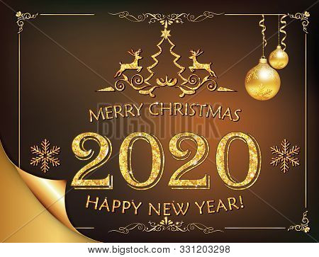Happy New Year 2020 - Classic Greeting Card With Golden Text And Decorations Baubles, Stylized Reind