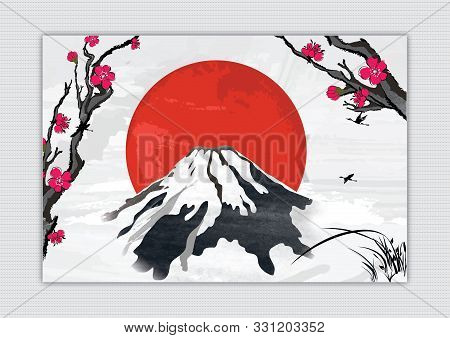 Japanese Style Vintage Background, With A Giant Red Sun Behind A Volcanic Mountain.