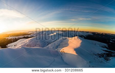 Magical Winter Panorama Of Beautiful Snowy Slopes At A Ski Resort In Europe On A Sunny, Windless Fro