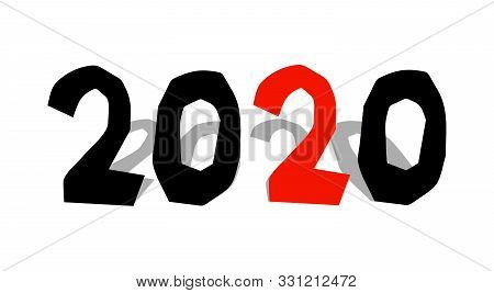 2020 Year Inscription In Paper Cut Style, Black Vector Illustration On White Background. Bold Grungy