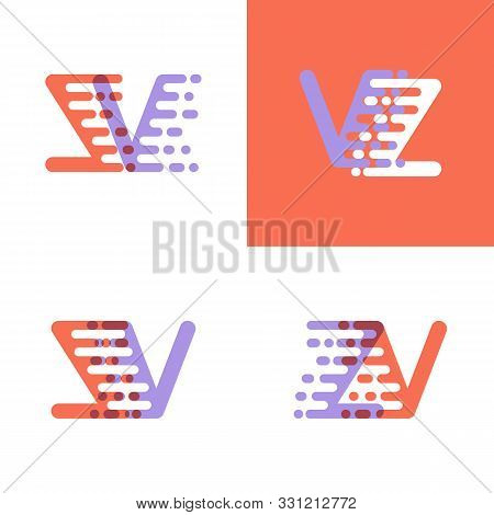 Zv Letters Logo With Accent Speed Orange And Lavender