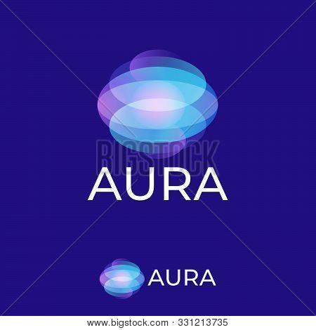 Aura Logo. Light Spots Logo. Omni Emblem Consist Of Transparent Elements.