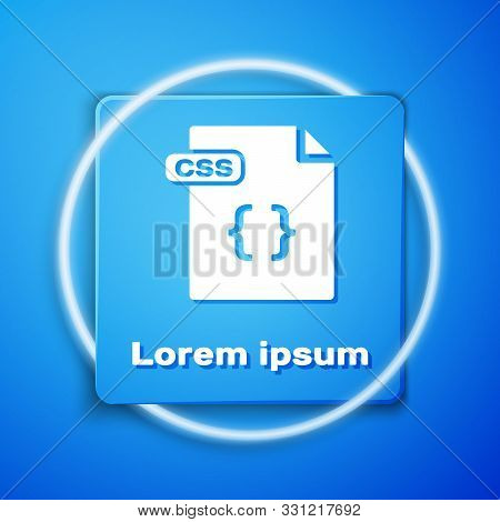 White Css File Document. Download Css Button Icon Isolated On Blue Background. Css File Symbol. Blue