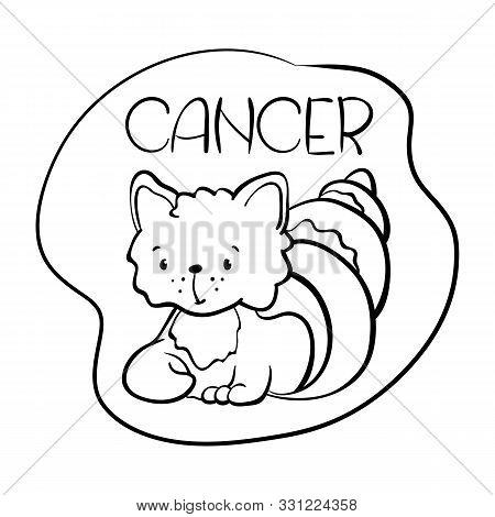 Cancer Astrological Zodiac Sign With Cute Cat Character. Cancer Vector Illustration On White Backgro