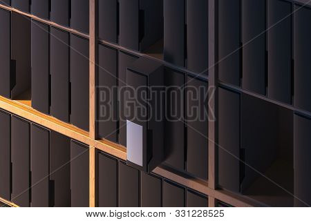Wooden Shelves With Blank Folders With Copy Space. 3d Rendering. Archive.