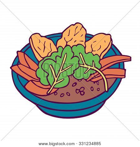 Healthy Bowl Hand-drawn In Cartoon Style, Colored Artwork Isolated On White Background, In Vector.